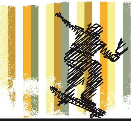 skateboarding tricks: Abstract Skateboarder jumping. Vector illustration  Illustration