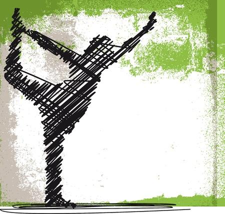 Sketch Resumen de meditar y hacer yoga Mujer. Ilustración vectorial