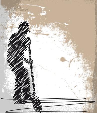 sketch: Abstract schets van Worker graven met een schop. Vector illustratie