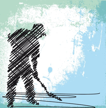 digging: Abstract sketch of Worker digging with a shovel. Vector illustration