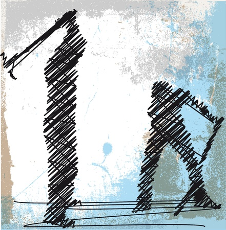 Abstract sketch of craftsman working with a pick. Vector illustration
