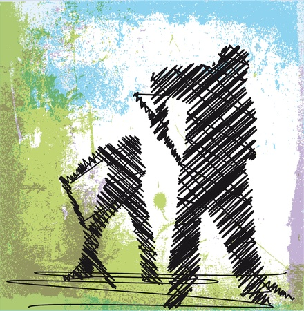 Abstract sketch of Worker digging with a shovel. Vector illustration Vector
