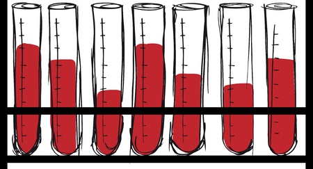 scientific research: Sketch of test tube with blood. vector illustration