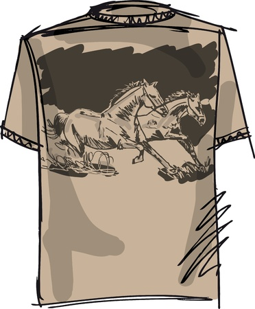 tee sketch of horse. vector illustration Vector