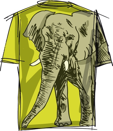 zoo youth: Sketch of elephant tee. Vector illustration Illustration