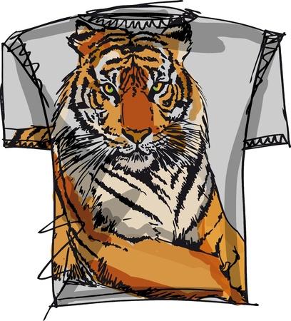 sleeved: tee sketch of tiger. vector illustration