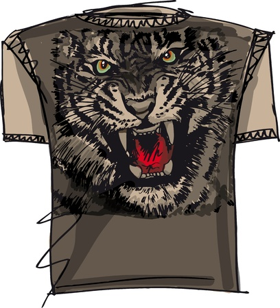 unisex: tee sketch of tiger. vector illustration