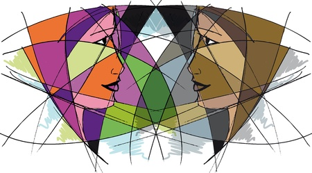 Abstract woman face. Vector illustration  Stock Vector - 13214904