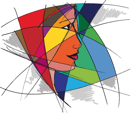 fantasy makeup: Abstract woman face. Vector illustration
