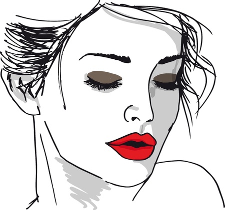 Schets van mooie vrouw gezicht. Vector illustratie