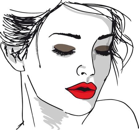 frau nach oben schauen: Skizze der sch�nen Frau ins Gesicht. Vektor-Illustration