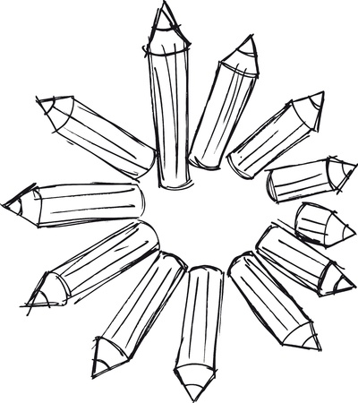 cross match: sketch of pencils arranged in a circle. Vector illustration