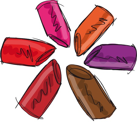 Sketch of lipsticks. Vector illustration Stock Vector - 13206432