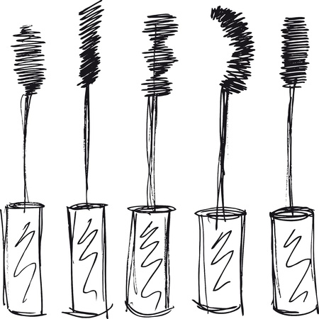 isolate: Sketch of Eyelash brush. Vector illustration