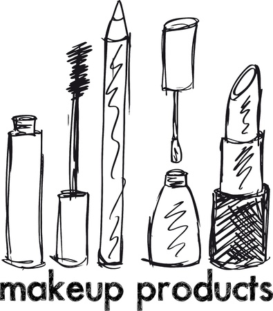 Sketch of Makeup products. Vector illustration Stock Vector - 13214885