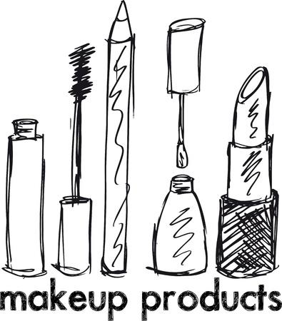 rímel: Sketch of Makeup products. Vector illustration Ilustra��o