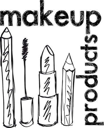 Sketch of Makeup products. Vector illustration Vector