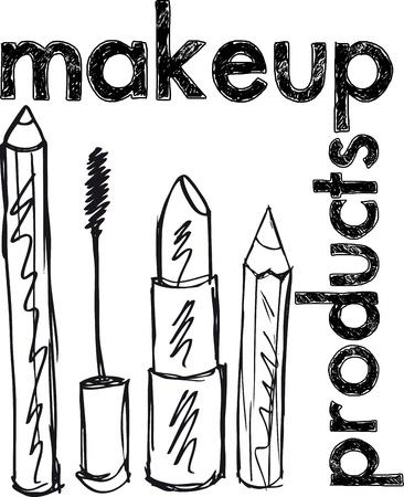 lash: Sketch of Makeup products. Vector illustration Illustration