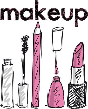 accessoire: Croquis de produits de maquillage. Vector illustration