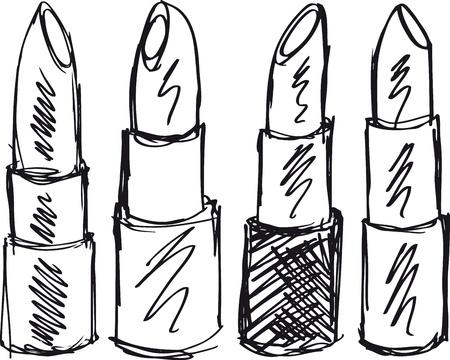 red tube: Esquema de barras de labios aislados sobre un fondo blanco. Ilustración vectorial