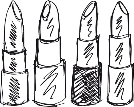 make up products: Sketch of Lipsticks isolated on a white background. Vector illustration