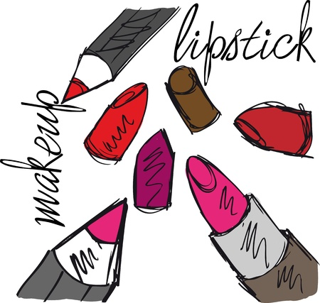 lip pencil: Sketch of Lipsticks and lipliners isolated on a white background. Vector illustration  Illustration