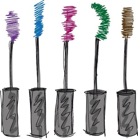 make up brush: Boceto de ilustraci�n vectorial cepillo de pesta�as Vectores