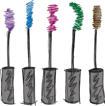 cosmetics collection: Sketch of Eyelash brush  Vector illustration