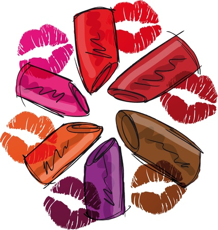 Sketch of lipsticks  Vector illustration Vector