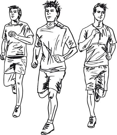 bocetos de personas: Esquema de los corredores de marat�n hombres. Ilustraci�n vectorial