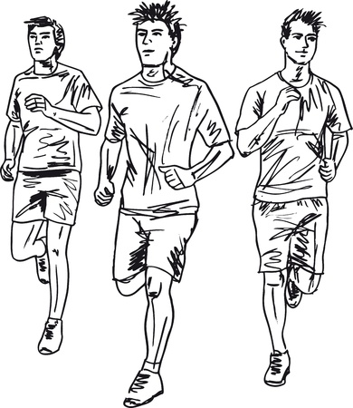 Sketch of men marathon runners. Vector illustration  Vector
