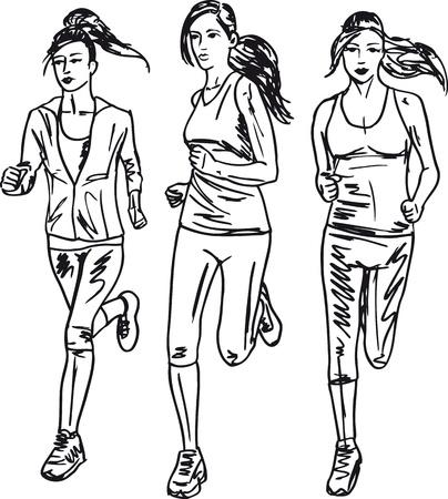 road runner: Esquema de las mujeres los corredores de marat�n. Ilustraci�n vectorial