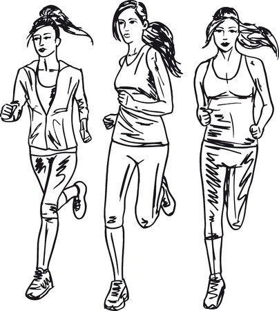 avenue: Sketch of women marathon runners. Vector illustration