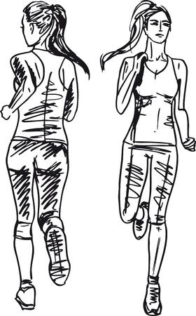 road runner: Sketch of female marathon runner, view of back and front. Vector illustration