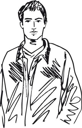 Boceto de hombre guapo. Ilustración vectorial