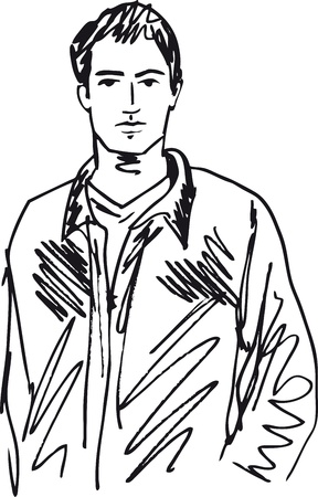 Szkic przystojny mężczyzna. Ilustracji wektorowych