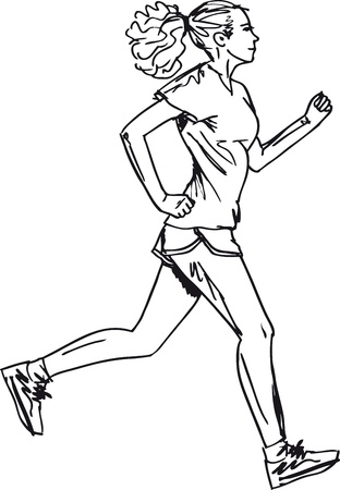 woman run: Sketch of female marathon runner. Vector illustration