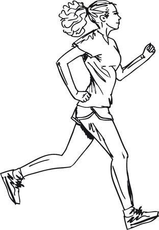 road runner: Sketch of female marathon runner. Vector illustration