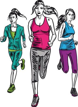 가벼운 흔들림: 여자 마라톤 선수의 스케치입니다. 벡터 일러스트 레이 션