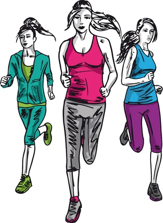 run way: Sketch of women marathon runners. Vector illustration