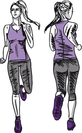 Sketch of female marathon runner, view of back and front. Vector illustration  Vector