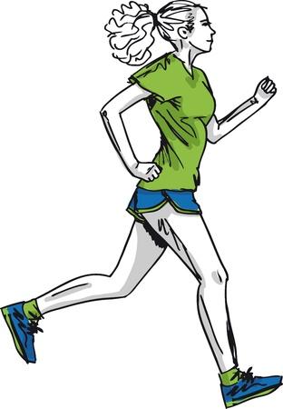 maratón: Skica ženské maratónský běžec. Vektorové ilustrace Ilustrace