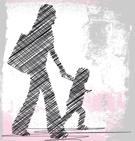 freedom of expression: Mom and daughter. Vector illustration Illustration