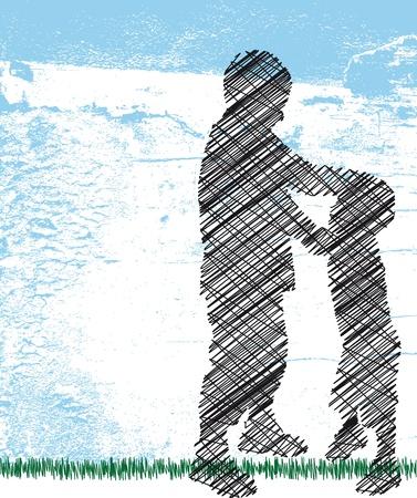 maltrato infantil: acosador empuja en torno a un ni�o peque�o. Ilustraci�n vectorial