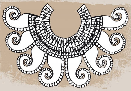 primitive: Sketch of ancient necklace. Vector illustration Illustration