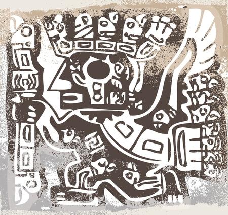 inca ruins: Grunge inca icon. Vector illustration