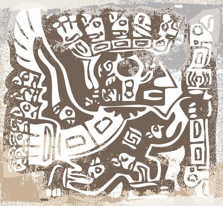 condor: Grunge inca icon. Vector illustration