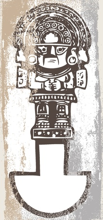 geoglyphs: Grunge inca icon. Vector illustration