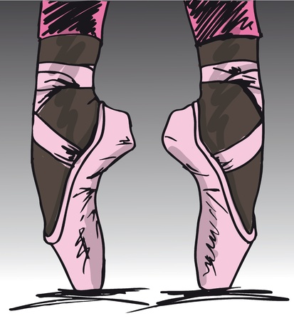 slippers: Sketch of ballet dancer