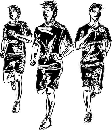 road runner: Boceto de ilustraci�n vectorial marat�n de los hombres corredores